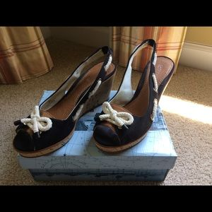 Sperry Southport Canvas Peep-toe Wedge